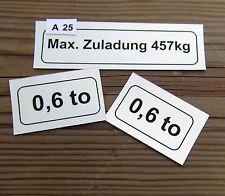 Achslast Aufkleber  Anhänger Hänger Westfalia Stickerset A25
