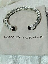 David Yurman Garnet & Diamond Sterling Silver Bracelet 7mm Cable Size 6.5