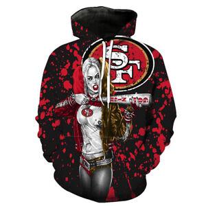San Francisco 49ers Harley Quinn Hoodie Pullover Hooded Sweatshirt Casual Jacket