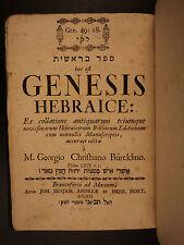 1738 Hebrew Bible GENESIS Biblia Hebraica Georg Burcklin Torah + Commentary