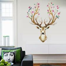Sika Deer Head Flowers Bird Wall Stickers Wall Decals Modern Home Decor Z