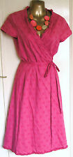 Beautiful Coral Cotton Circles Wrap Dress by Boden UK 10R CLOSING DOWN SALE