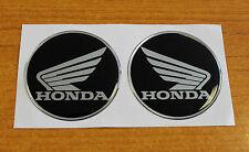 Honda Alas stickers/decals -60 mm chrome/black-high Brillo semicirculares De Gel Acabado