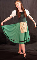 Villager/Sound of Music/Chorus/Solo GREEN DANCE DRESS & PINNY all ages/sizes