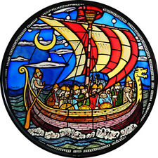 STAINED GLASS WINDOW ART - STATIC CLING  DECORATION - VIKING SHIP