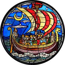 Vidriera Arte-estática Decoración-Viking Nave