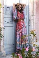 Hippie Deep V Neck Kimono Sleeve Floral Print Maxi BOHO DRESS Women Summer Yoooc