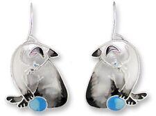 Siamese Cat Earrings, Zarah, Silver Plated, Hand Painted Enamel, Kitten & Ball