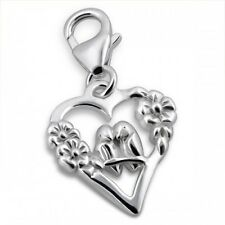 Sterling Silver Love Birds Heart Shaped Clip On Charm 925 with Gift Box