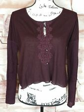 Abercrombie And Fitch Women's Long Sleeve Maroon Blouse and Lace Back Size XS