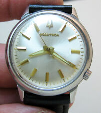 SERVICED BULOVA ACCUTRON 218 STAINLESS STEEL TUNING FORK MEN WATCH N2