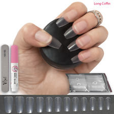 100 x CLEAR LONG COFFIN False Nails PRESS ON FULL COVER Fake Natural Tips✅+ GLUE