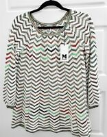 New M Missoni sz 40 Multi Zig Zag Knit Long Sleeve Top Italy $495rt