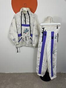 Women's Vintage Rodeo Skiwear Ski Suit 2 Piece Track Suit Wavy Funky White UK 10