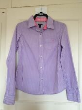 American Eagle Purple Stripe Long Sleeve Shirt Size 10/12 Great Cond 100% Cotton