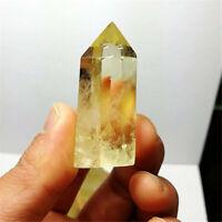 Natural Rare Citrine Quartz Crystal Hexagonal Wand Point Healing Home Decoration