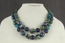 VINTAGE Signed ART Costume Jewelry Aqua Blue Beaded Plastic Lucite Bib Necklace