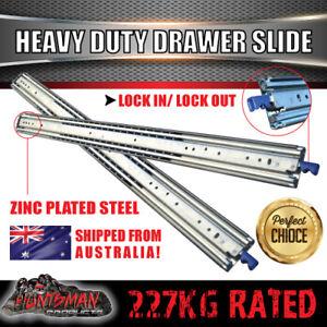 227kg Locking Drawer Slides 900 - 1600mm Heavy Duty Fridge runner full extension