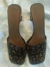 Via Spiga women's leather animal print shoes slides lacquer kitten heels 8.5 N
