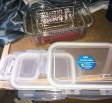 INDIANA  HOOSIERS UNIVERSITY SIX PIECE, GLASS FOOD CONTAINERS DUCKHOUSE SPORTS