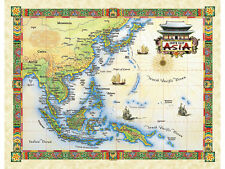 "19.5 x 25"" Asia Vintage Look Map Poster Printed on Parchment Paper"