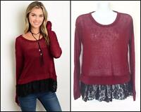 WINE SHEER LACE TRIM TOP SWEATER BURGUNDY BOHO SMALL S NWOT