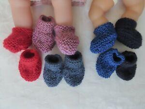 vetement pour poupée corolle 30 et 36 cm- lot 5 paires chaussons fait main NEUF