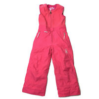 Spyder Girls Size 4 Pink Bibbed Snow Pants Snowbib Spylon Overalls Ski