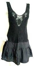 Vestido De Encaje Free People Y Seda Talla 8 negro -- como Nuevo -- usado una vez