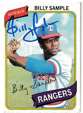 Billy Sample 1980 Topps Texas Rangers SIGNED CARD AUTOGRAPHED