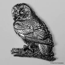 Tawny Owl Pewter Pin Brooch -British Hand Crafted- Nocturnal Hawk Falconry Bird
