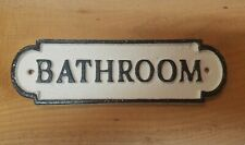 Vintage Aged Victorian Black White CAST IRON Sign Bathroom Plaque
