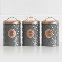 Grey & Copper Tea Coffee Sugar Canisters Kitchen Storage Accessories Rose Gold