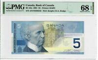 Canada $5 2001 BC-62a PMG Superb Gem UNC 68 EPQ