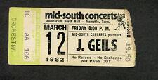 Original Rare 1982 U2 J. Geils Band Concert Ticket Stub October Tour Memphis TN