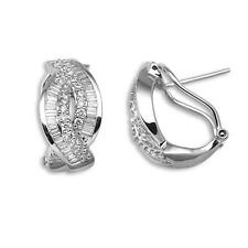 18ct White Gold 1.58ct Real Diamond Post & Clip Earrings G-H SI