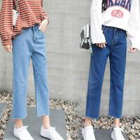 Jeans Korean Women Harajuku High Waist Straight Loose Casual Denim Long Pants MO