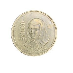 1989 Mexico $1000 Pesos VG Large Old Antique Mexican Foreign World Coin