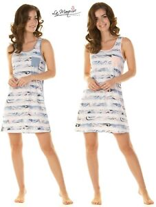 NEW Ladies Cotton Rich  Mineral Stripe Sleeveless Nightdress By La Marquise
