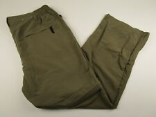 Mens World Wide Sportsman L Green Flat Front Convertible Cargo Hiking Pants