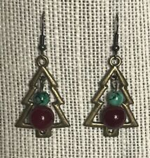 beads hanging earring Christmas tree brass and