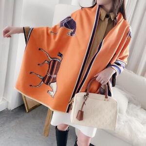 Women Fashion Long Scarf Imitate Cashmere Shawl Horse Printed Kerchief 190*65cm