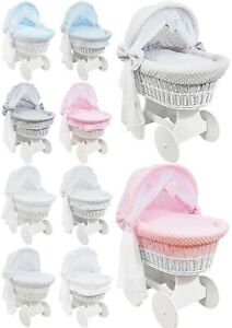 WHITE WICKER WHEELS HOOD CRIB/BABY MOSES BASKET + COMPLETE BEDDING
