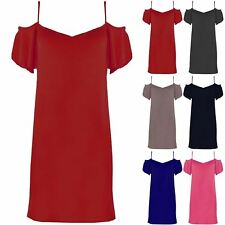Womens Ladies Strappy Camisole Cut Out Bardot Off The Shoulder Tunic Swing Dress