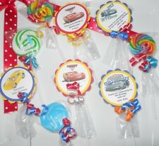 """24 Disney cars 1st 2nd 3rd Birthday party favors 2"""" swirl lollipops Personalized"""