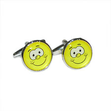 Yellow Funny Face Cufflinks & Gift Pouch
