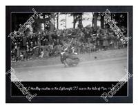 Historic W L Handley crashes, 1927 Isle Of Man TT Postcard