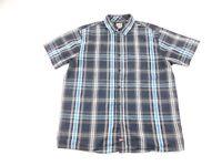 Dickies Mens Black Blue Plaid Button Front Short Sleeve Shirt L
