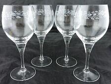 VINTAGE WINE GLASS SET 4 LEAF GARLAND ETCHED STEMWARE GLASSWARE BARWARE FRANCE