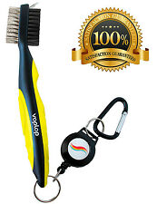 Golf Brush and Club Groove Cleaner - Easily Attaches to Golf Bag - Yellow